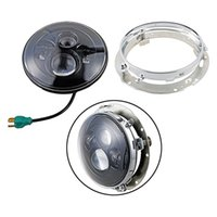 "Wholesale Round Ring Mount Setting - 7"" Round 40W LED Projector Headlight H4 + Chrome Iron Ring Mounting Set for Harley Touring street Glide"