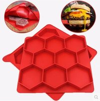 Wholesale Kitchen Containers Wholesale - Hamburger Press Mold Red Silicone Meat Burger Press Maker Freezer Container Barbecue Baking Moulds Kitchen Tools CCA6753 20pcs