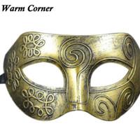 Wholesale Sliver Masquerade Masks - Wholesale-Warm Corner 2 Color Sliver Gold Retro Venetian Masquerade Sexy Halloween Party Mask Facial Masquerade Ball Free Shipping Aug 24