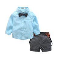 Wholesale Baby Boy Shorts Plaid Pants - Fashion Boys Clothes summer short sleeve shirt+suspender shorts pants 2 pieces baby fashiong clothing set blue pink yellow 3 colors