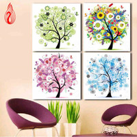Wholesale Autumn Cross Stitch - YGS-134 DIY Diamonds Embroidery Spring Summer Autumn Winter Four Seasons Tree Round Diamond Painting Cross Stitch Diamond Mosaic