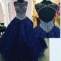 Wholesale Vintage Girls Dress Patterns - Quinceanera Dresses Ball Gown Princess Puffy 2017 Sexy Navy Blue Tulle Masquerade Sweet 16 Dress Backless Prom Girls vestidos de 15 anos