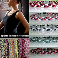 Wholesale Sports Energy Titanium Braided Necklaces - New High Quality Titanium Braided 3 Ropes Tornado Power Energy Necklaces 2IN1 Sports Bracelet With Football Baseball Softball Lucky Chokers