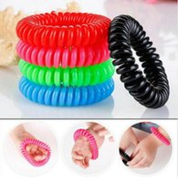 Wholesale Natural Bracelets - Mosquito Repellent Phone Ring Summer Natural Plant Oils Phone Strap Elastic Anti-mosquito Bracelet Spiral Hand Wrist OOA2059