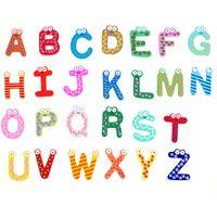 Wholesale Letters Wooden Fridge - Baby 26pcs Toys 2017 New Letters Kids Wooden Alphabet Fridge Magnet Child Educational Lnteresting Toy XL-T40