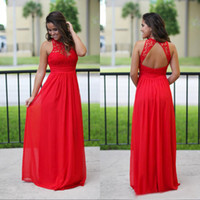 Abiti da damigella d'onde lunghi Red 2017 Cheap A-Line merletto in chiffon Top Gonne di gioiello Backless Wedding Guest Maid of Honor Abiti