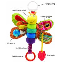 Wholesale Babys Bedding - Wholesale- Babys' Toy Fashion bed around new Baby mobile Musical Inchworm Plush toy toddler Infant kids toys butterfly Wrist Rattle