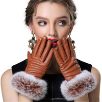 Wholesale Genuine Rabbit Fur Gloves - Wholesale- Autumn Full Palm Touched Gloves Women Genuine Gloves Rabbit Fur Leather Warm Black Mitten Winter Ladies Velvet Ladies Glove G037