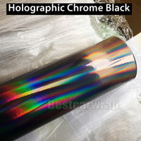 Wholesale Color Foil - 2017 Black Holographic Vinyl Film For car wrapping with Air bubble Free Rainbow Chameleon Chrome Wrap covering Foil size 1.52x20m Roll
