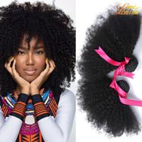trama de cabelo tecelagem afro venda por atacado-Atacado 100% Feixes de Cabelo Humano Brasileiro 7A Peruano Malaio Indiano Humano Tecer Cabelo Afro Extensão do Cabelo Humano Virgem Barato 4 Braços