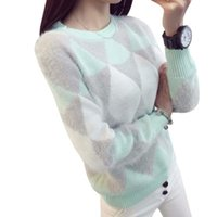Wholesale cute crochet sweaters - Wholesale-Female Pullovers Winter Sweater Women Fashion Spring Autumn Pullover Long Sleeve Plaid Cute Casual Ladies Sweaters