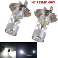 Wholesale Led Fog Driving Lights - 2pcs H7 12SMD 2323 White Super Bright 60W Fog Light Driving Car Head Light Lamp Bulbs CLT_08A