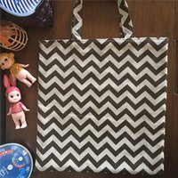 Atacado- YILE Handcrafted Cotton Linen Hand Bag Shopping Tote Brown Zigzag Line 429