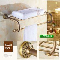 Wholesale Brass Towel Rod - Hot Free shipping Bathroom Towel Rack with Single rod Thickened Reinforced Toilet Coat Rack Wall Shelf Archaistic Brass Burshed Hardware Set