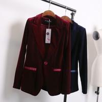 Wholesale Women Suits Designs - red blue velvet blazer women bleu marine ladies blazer designs women suit jacket winter coat jacket woman blazers suits designs