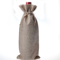 ingrosso sacchetti di regalo pieghevoli-10pcs / lot Sacchetti regalo bottiglia di vino di iuta borgogna 16 * 36 cm decorazioni di vino di Natale sacchetti pieghevoli forniture di festa