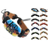 Wholesale Love Peace Bracelets - peace sign love genuine leather bracelet adjustable black brown wholesale lots surfer chain men women handmade wristband bangle hot (DJ043)