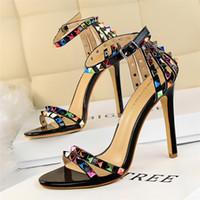 Wholesale Blue Rainbow Sandals - Bigtree luxury brand rainbow rivets shoes woman valentine shoes gladiator sandals women 2017 summer wedding shoes fetish high heel pumps