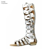 Wholesale Caged Heels - Summer Women's Leather Back Zipper Open Toe Multi Lace Look Knee High Sandals Knee High Caged Gladiator Strappy Flat Sandals