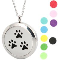 Wholesale Dog Magnets - 1pcs magnet 30mm cute pet dog pew Aromatherapy Essential Oil surgical Stainless Steel Perfume Diffuser Locket Necklace with chain and pads