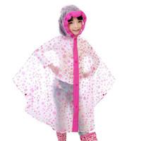 Wholesale Kids Pvc Raincoat - 1PC Fashion Kids Dot Raincoats Unisex PVC Rain Coat Waterproof Kids Rainwear Rain Gear Poncho Cartoon Hooded children Raincoat 3