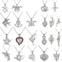 Wholesale Indian Charm Necklace - 18kgp Fashion love wish pearl  gem beads locket cages Pendants, DIY Pearl Necklace charm pendants mountings 50pcs