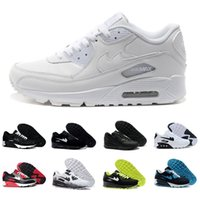 Wholesale Buttons Cushion - Mens Sneakers Shoes classic 90 Men and women Running Shoes Black Red White Sports Trainer Air Cushion Surface Breathable Sports Shoes 36-46
