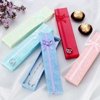 cajas de pulsera larga al por mayor-500 unids / lote elegante bowknot collar largo pulsera exhibición caja de regalo caja de regalo de la joyería