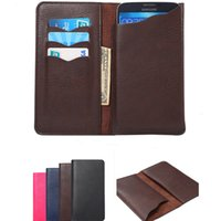 Wholesale Note Flip Back Cover - New Universal Wallet PU Flip Leather Case Credit card back Cover Pouch For 4.3 to 6.5 inch for iphone 6 6s 7 plus samsung s7 edge Note 7