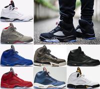 Wholesale Shoe Air Camo - Air Retro 5 5s Premium Triple Black Men Basketball Shoes Camo White Cement Red suede Blue OG Metallic Gold sport Sneakers US 8-13