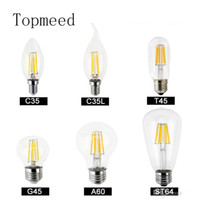 Wholesale High E12 Dimmable Led Candle - Dimmable led bulbs Filament bulb 4w 8w 12w 16w High Power Glass globe bulb 110V 220V 240V Retro led Edison lamp candle lights