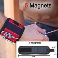 Wholesale Nail Support - 5 Magnets 3Colors Sports Safety 13.8'' Magnetic Wristband Wrist Support Band Tool Belt Bracelet Nail Screw Holder Kit Set Protection