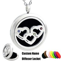 Wholesale Names Perfumes - Chain Free 30mm Custom Name Intertwined Hearts Birthstones Diffuser Locket Essential Oils Perfume Aroma Locket Stainless Steel
