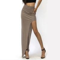 Wholesale Maxi Skirt Side Split - 2016 New Fashion Charming Sexy Women Lady Long Skirts Open Side Split Skirt Long Maxi Skirt Black