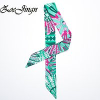 Wholesale New Ladys Small Silk Twilly Scarves Brand Colorful Printed Bags Handle Decoration Bow Tie Ribbon Scarves For Women