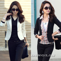 Wholesale Career Jackets - Wholesale- New Fashion Female Autumn Long Sleeve Slim Fit Casual Peplum Career Office Jacket Women Suit Tops Outerwear Black White CL0602