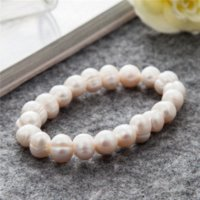 Wholesale Baroque Bangles - Baroque Freshwater Pearl Bracelet Women Elastic Rope Charm Bracelets Bangles Women Fashion Jewelry Pulseras Mujer Perlas