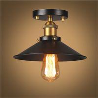 accesorios de iluminación de metal vintage al por mayor-Loft de techo de la lámpara de la vendimia retro Ronda luz de techo de diseño industrial de Edison del bulbo antiguo Pantallas de iluminación Ambilight accesorio de iluminación