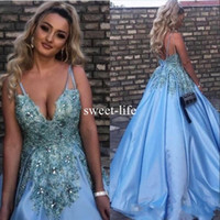 Wholesale Baby Chrismas - Sexy Baby Blue A line Evening Dresses Spaghetti sleeveless Backless Beaded Collar Stain Celebrity Special Occasion Prom Gowns