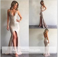 New Design Sexy Deep V Neck Mermaid Prom Robes Cheap Sequins Halter Neck Backless Front Split Floor Length Formal Evening Party Gowns