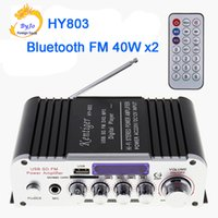 Wholesale Use Power Amplifier - HY803 Mini Amplifier Car Amplifier Bluetooth Amplifier 40W+40W FM MIC MP3 for Motorcycle Car Home use Support AC 220V or DC 12V input