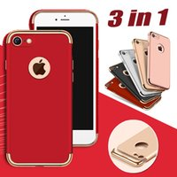 Wholesale Dirt Shock Proof Iphone - Luxury 3 in 1 Design Matte Frosted Hybrid Slim Shock Proof Hard Plastic Back Armor Cover Case For iPhone 7 Plus 6 6S Samsung S7 S7 S6 Edge