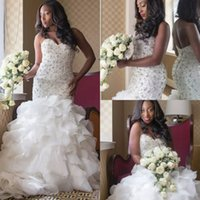Wholesale Exquisite Sweetheart Beads Tiered Ruffle - Luxury 2017 Sweetheart Beaded Ruffles Plus Size Mermaid Wedding Dresses Long Exquisite Tiered Lace Up Back Bridal Gowns Custom EN3105