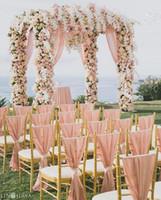 yüksek sandalye toptan satış-Toptan Yüksek Kalite 30D Şifon Sandalye Kanat Düğün Sandalye Sashes örgün Parti Düğün Sandalye Satışa Kapakları