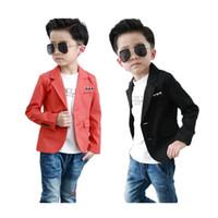 erkek çocuk takım elbise toptan satış-Moda nedensel çocuk blazer ceket katı orangeblack pamuk blazer 2-10years erkek erkek çocuk çocuklar için nedensel takım elbise sıcak