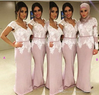 Wholesale Dres For Party - Lace Bridesmaid Dresses for Cheap 2017 Mermaid Arabic Muslim Cap Long Sleeves Prom Party Gowns Floor Length Maid of Honor Wedding Guest Dres