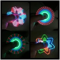 Wholesale Marked Beads - LED Fidget Spinner with 7 LED Beads 18 Patterns CE Mark Tri-spinner EDS Anti-stress LED Spinners Fidget Spinner Toys