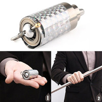 Wholesale Magic Tricks Appearing Cane - Free Shipping Appearing Cane Metal Silver Magic Stick Wand Magic Tricks Close Up Illusion Silk To Wand Magic Props Kid Best Gift