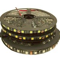 Wholesale Led Ribbon Lights Strings - 5050 Black PCB RGB Led Strip Light 12V 5M 300leds Flexible Strip String Waterproof Led Ribbon Tape Lamp Home Decoration Light