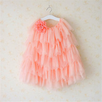 ingrosso cadono colore tulle-Everweekend Girls Tutu Flower Gonne Gonne torta colore rosa e bianco Summer Fall Princess Ruffles Tulle Party Clothing